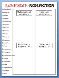 Here's a form for students on responding to nonfiction.