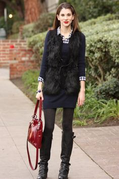 Black and Blue: black fur vest, blue sweater dress, navy gingham shirt and red accents