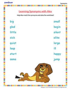 Learning Synonyms with Alex - A fun worksheet for kids based on the movie 'Madagascar'