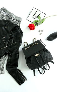 Cool Street Style - Black Quilted Drawstring Flap Backpack