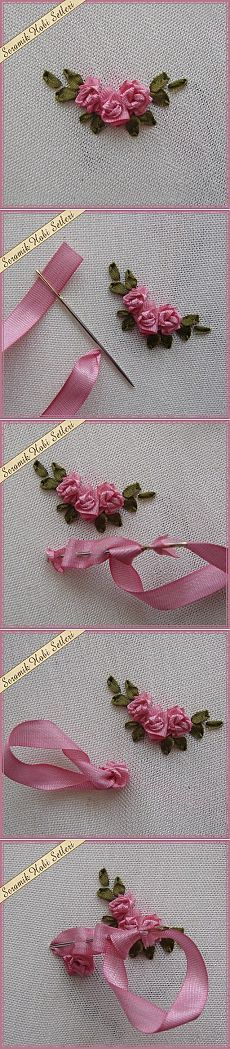 Embroidery with ribbon roses.