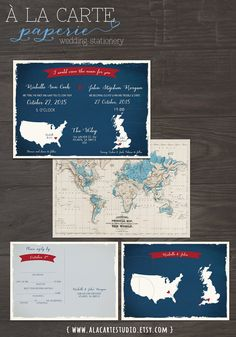 UK England USA Wedding Wedding Invitation and by alacartepaperie