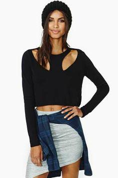 Nasty Gal Front Line Crop Sweater $58.00 #NastyGal