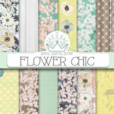 "Floral digital paper: ""FLOWER CHIC"" with flowers digital paper, flower scrapbook paper, floral background in mint, green for planners, card #floral #romantic #shabbychic #digitalpaper #scrapbookpaper #wedding #mint #yellow #woodtexture #distressedwood #lace"