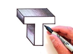 How to Draw the Letter T in 3D - YouTube