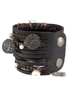 A.S.98 Black Leather Decorative Bracelet