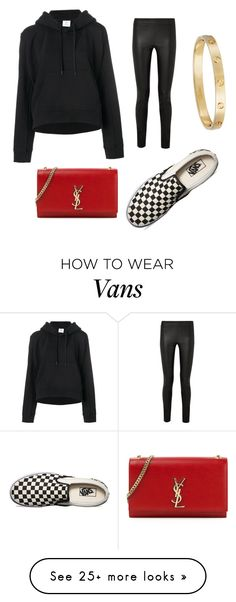 """redddd"" by macyannpepper on Polyvore featuring Vetements, The Row, Yves Saint Laurent, Vans, Cartier and Hoodies"