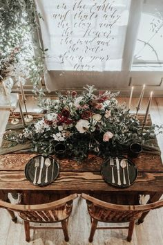 rustic sweetheart table with gold candle sticks and moody, blush florals, vintage wedding centerpieces, fall wedding table settings, raw wood wedding tables Table Decoration Wedding, Wedding Table Centerpieces, Wedding Table Settings, Reception Decorations, Table Decorations, Wedding Table Layouts, Reception Table, Decor Wedding, Edgy Wedding