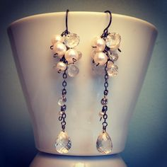 Freshwater pearls, quartz and oxidized sterling earrings. www.calliope-jewelry.con