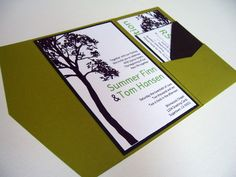 Wedding Invitation DIY Pocketfold Tall Tree by ticklemeink on Etsy, $50.00