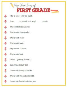 First Day of First Grade Interview – Click image or link below to download