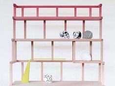 The Babylon Wooden Desk Shelf Design is Impossibly Tall #pink trendhunter.com