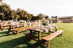 Hand crafted farmhouse table and chairs for a pastel winery wedding. Farmhouse Table Chairs, Outdoor Furniture Sets, Outdoor Decor, Vineyard Wedding, Dinner Table, Banquet, Lilac, Wedding Inspiration, California