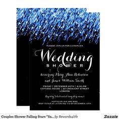 "Couples Shower Falling Stars ""Sapphire Blue"" Card"