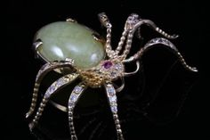 ANTIQUE-VICTORIAN-AGATE-DIAMOND-14K-YELLOW-GOLD-SPIDER-PIN-BROOCH-PENDANT