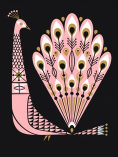 Pink Peacock by labpartners. Love this. Black, white & gold ink printed onto pink paper.