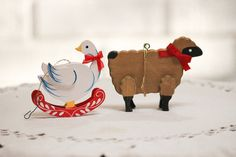 Wooden Animals Christmas Tree Onaments Briwn Sheep by CabinOn6th