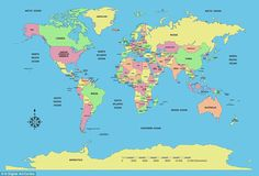 A standard world map with countries size eflecting total land mass...