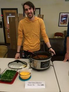 Chili Cook Off February 2014 - Fan Favorite Winner SBJ shows off his chili and condiments.