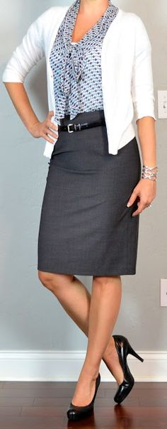 Wear to work: grey pencil skirt, blue pattern tie-neck blouse, white cardigan, black pumps