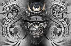 Snakes And Samurai Helmet Tattoo Designs: Real Photo Pictures Images . Japanese Snake Tattoo, Japanese Tattoos, Helmet Tattoo, Samurai Helmet, Tattoo Designs, Demon Tattoo, Chest Tattoo, Gray Background, Japanese Background