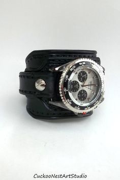 Leather Cuff Watch Wrist Watch Leather by CuckooNestArtStudio, $109.00