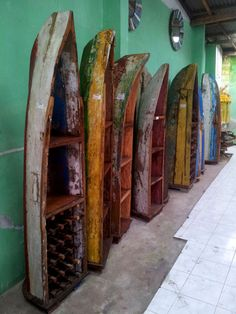 Wooden cabinets made of old fishing boats from Bali, that have been on the sea and the beach for ages. (Available at fairbali.com)