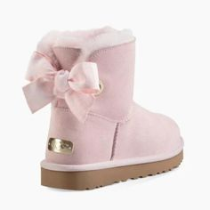 Customizable Bailey Bow Mini Boot - Image 1 of 7 Ugg Style Boots, Bow Boots, Pink Boots, Shearling Boots, Leather Boots, Uggs With Bows, Pink Uggs, Mini Baileys, Custom Boots