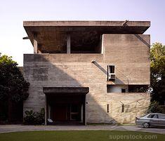Stock Photo #1801-36965, The Shodan House, Ahmedabad, India, Le Corbusier, Shodan house-entrance.