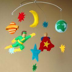 Superhero Space Adventure Baby Mobile  Super Heros by PinkPerch
