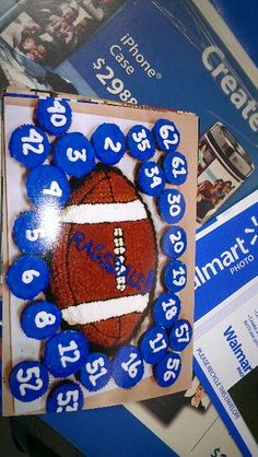 Sports banquet -- round basketball instead. Football Coach Gifts, Football Treats, Football Spirit, Football Cheer, Football Birthday, Youth Football, Football And Basketball, Football Season, Senior Night Football Gifts