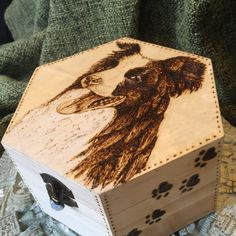 New wood-burnt jewelry box with Bolder Collie dog. Ready for shipping!!