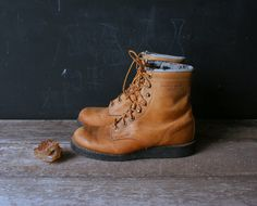 Vintage Hiking Boots Ankle Leather Tan From by nowvintage on Etsy, $55.00