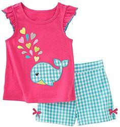 Kids Headquarters Little Girls' Whale Shirt & Shorts Set Girls Summer Outfits, Little Girl Outfits, Toddler Outfits, Short Outfits, Kids Outfits, Outfit Summer, Summer Clothes, Baby Girl Fashion, Toddler Fashion