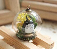 10 SALE Necklace Terrarium Totoro Miyazaki Art by timegemstone, £15.64
