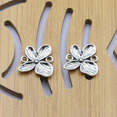 6Pcs Fashion Flower Tibetan Silver Charm Connector Fit DIY Bracelet Necklace…