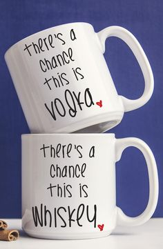'There's a Chance' Ceramic Mugs (Set of Best Coffee Mugs, Coffee Mug Sets, Mugs Set, Coffee Cups, Tea Cups, Drink Coffee, Diy Becher, Diy Mugs, Cute Mugs