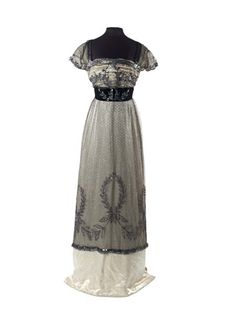 """Evening Dress, Madame Hayward: ca. 1909-1910, English, silk net, satin, tiny sequins. """"This skirt is part of a dress that is included in Janet Arnold's 'Patterns of Fashion: Englishwomen's dresses and their construction c. 1860-1940' (pages 58-59)."""""""