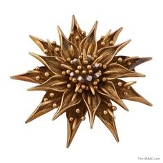 18K gold Tiffany & Co. flower brooch with diamonds, fur clip (2 prong). Italy, circa 1950-60.