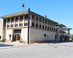 Park Inn and City National Bank. Mason City, Iowa. 1910. Frank Lloyd Wright.