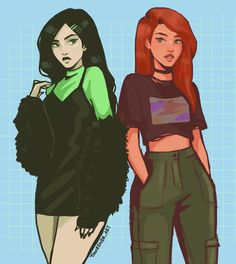 Shego and Kim Possible Cartoon Kunst, Cartoon Art, Girl Cartoon, Cute Drawings, Drawing Sketches, Cute Art Styles, Dibujos Cute, Powerpuff Girls, Aesthetic Art