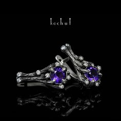 "Charming earrings of the author's design ""The bewitched forest"". Handmade earrings made of silver   with blackening. Amazing handcrafted jewelry акщь #kochut. Earrings with an amethyst (diameter of 6 mm)."
