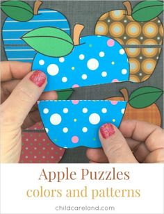 Apple color and pattern puzzles for visual discrimination and color identification.