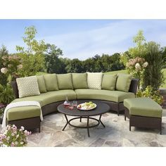 Thornquist 5 Piece Wicker Patio Sectional Seating
