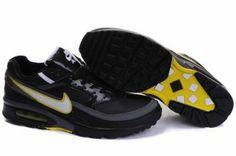 buy online d40ef 33921 Nike Air Max BW Homme Chaussures Noir Avec Blanche Jaune Logo