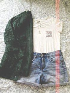 green sweater, white tee, jeans shorts; perfect