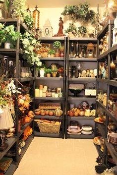 Dedicated storage area for home décor items not being used.