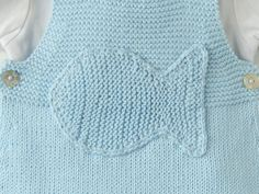 Knitted baby overalls sky blue knitted fish. 100% by tenderblue