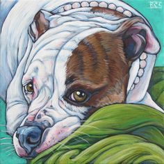 Lola the American Bulldog in Pearls from Pet Portraits by Bethany