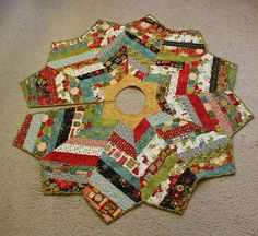 """Christmas Tree Skirt String Pieced - Quilted with Basic Greys from Moda - Medium 48"""" - Bright Christmas Quilt"""